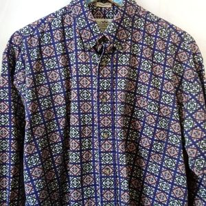Vintage Navy Mosaic Geo Pattern Button Down M